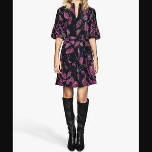 Reiss Marsali Pink Feather Print Ruffle Dress